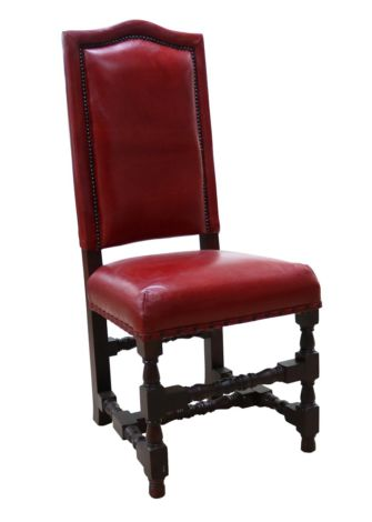 Arden Vintage Rouge Red Distressed Leather Dining Chair