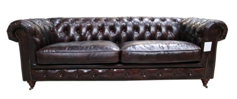 Ashton Chesterfield Vintage Tobacco Brown Distressed Leather 3 Seater Sofa