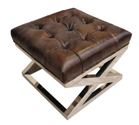 Arden Chesterfield Buttoned Distressed Vintage Tobacco Leather Metal Cross Footstool Ottoman