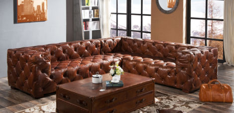 Accrington Chesterfield Buttoned Vintage Distressed Leather Corner Sofa