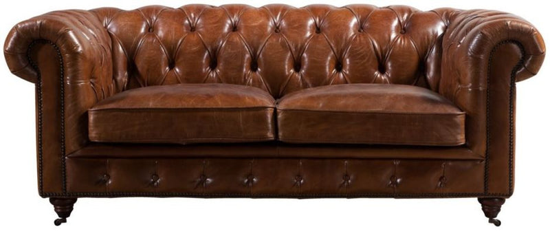 Cheadle Buttoned Vintage Distressed Leather 2 Seater Sofa