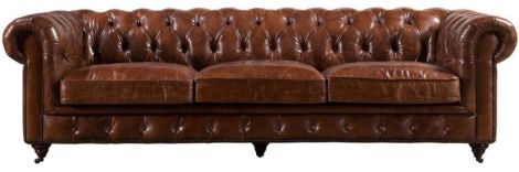 Ashton Buttoned Vintage Distressed Leather 3 Seater Sofa
