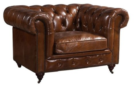 Chesterfield Buttoned Vintage Distressed Leather Club Chair