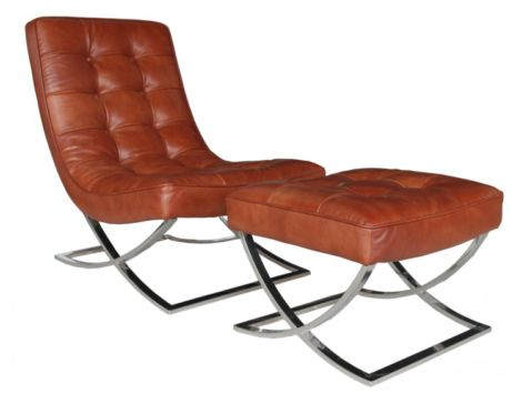 Chesterfield Buttoned Vintage Lounge Chair With Footstool
