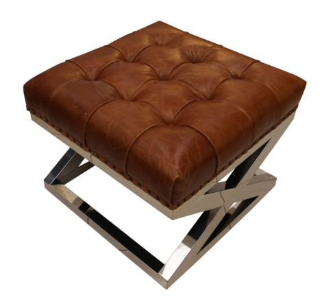 Cirrillo Chesterfield Buttoned Distressed Vintage Tan Leather Metal Cross Footstool Ottoman