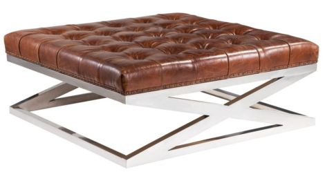 Arden Chesterfield Large Square Vintage Distressed Leather Metal Criss Cross Footstool