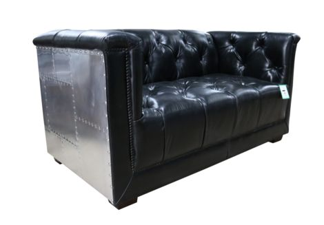 Ashton Chesterfield 2 Seater Vintage Black Distressed Leather Aluminium Sofa