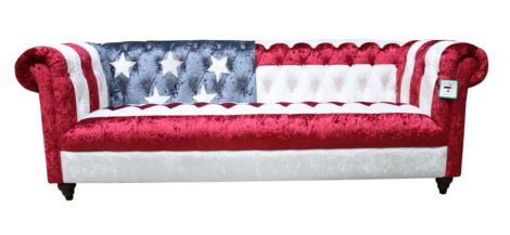 Eton Stars And Stripes Chesterfield 3 Seater Velvet Sofa