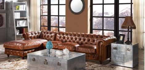 Adler Chesterfield Vintage Distressed Leather Buttoned Corner Sofa