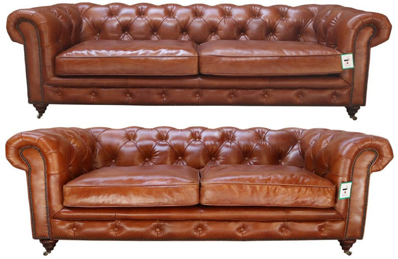 Barnet Vintage Distressed Tan Leather Chesterfield 3+2 Seater Sofa Suite