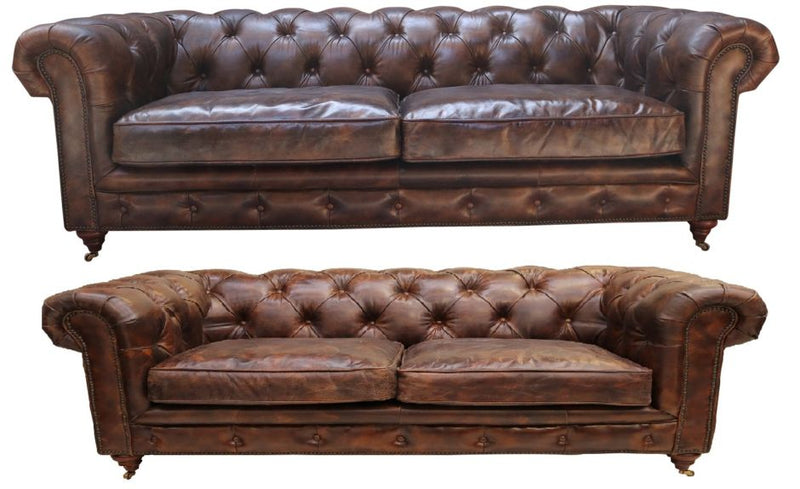 Barnet Vintage 3+2 Distressed Tobacco Leather Chesterfield Sofa Suite