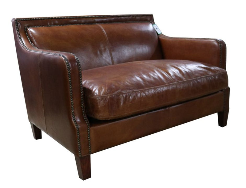 Ariel Vintage Tan Distressed Leather 2 Seater Stud Sofa