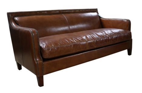 Ashton Vintage Tan Distressed Leather 3 Seater Stud Sofa