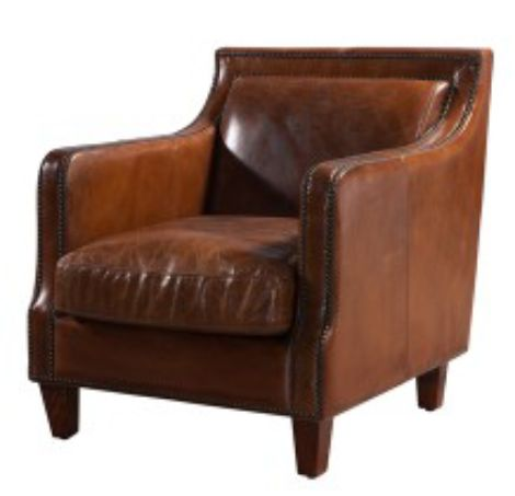 Chichester Vintage Distressed Leather Stud Armchair