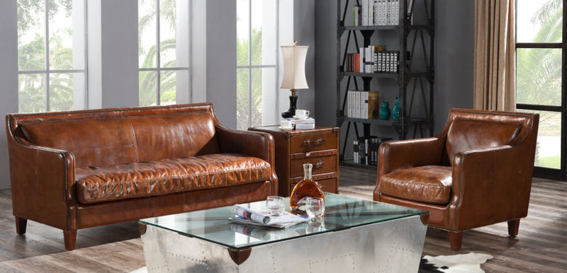 Bedford Vintage Distressed Leather Stud Sofa Suite