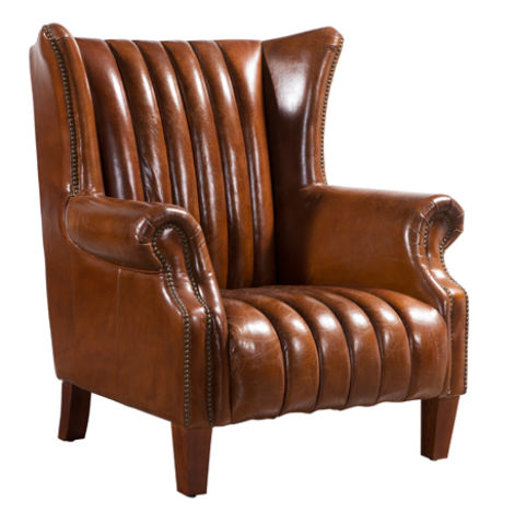 Cuban Cigar Vintage Distressed Leather Wingback Chair