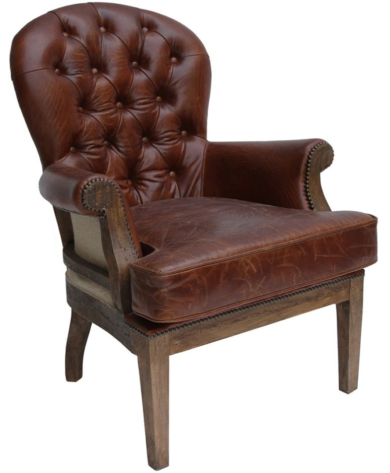 Deconstructed Estate Vintage Leather Armchair