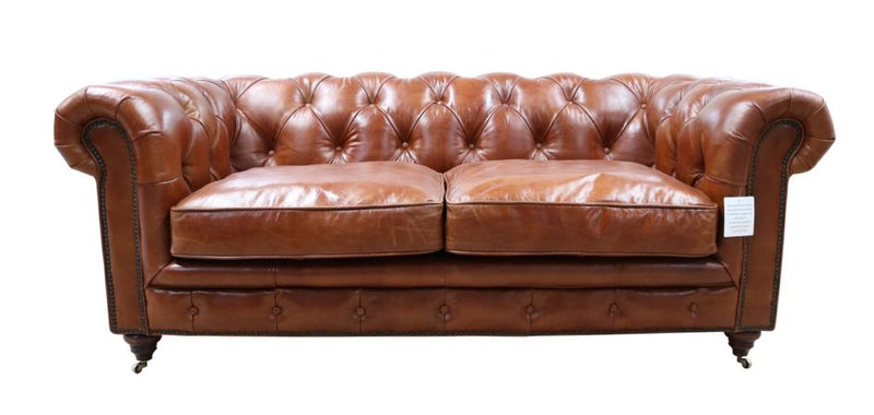 Amory Chesterfield Tan Leather Sofa 2 Seater
