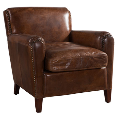 Eccentric Vintage Distressed Leather Club Chair