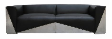 Ariel Aluminium Vintage Distressed Leather Sofa