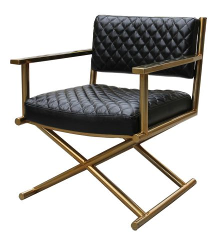 Gold Frame Directors Vintage Leather Armchair