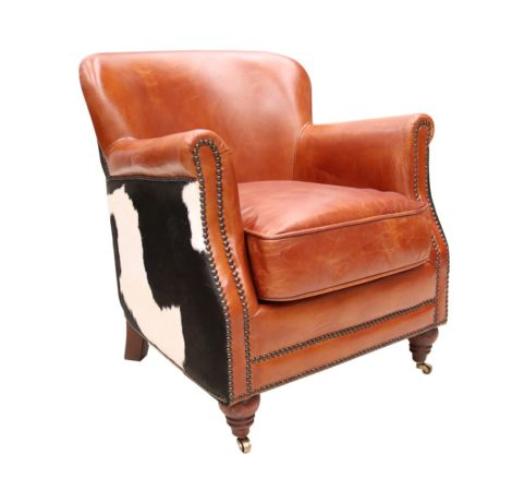 Black Cow Vintage Distressed Leather Armchair