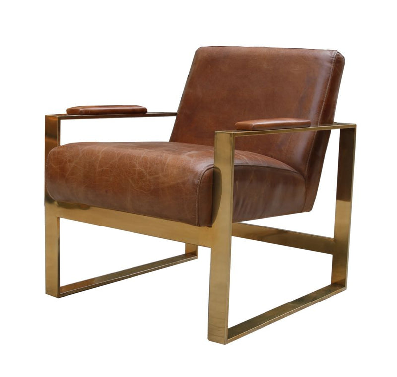 Distressed Leather and Gold Stainless Steel Armchair
