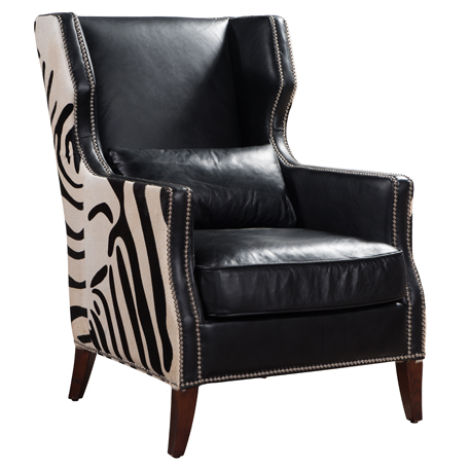 Lowry Zebra Vintage Black Distressed Leather Wing Chair