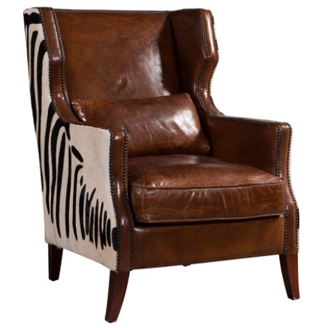 Lowry Zebra Vintage Brown Distressed Leather Wing Chair