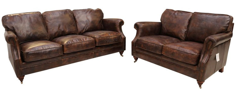 Bedale Luxury Vintage Distressed Leather 3+2 Seater Settee Sofa Suite Tobacco Brown