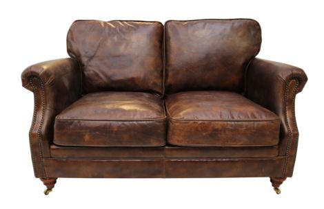 Adelaide Luxury Vintage Distressed Leather 2 Seater Settee Sofa Tobacco Brown