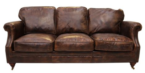 Carmelo Luxury Vintage Distressed Leather 3 Seater Settee Sofa Tobacco Brown