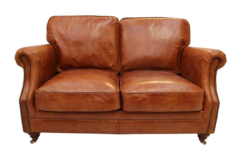 Adler Luxury Vintage Distressed Leather 2 Seater Settee Sofa Tan