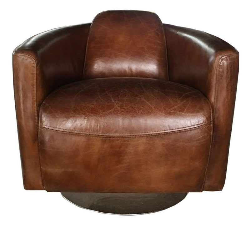 Marlborough Swivel Vintage Distressed Leather Tub Chair