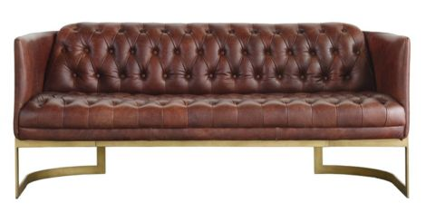 Craven Frame Chesterfield Buttoned 3 Seater Distressed Leather Sofa