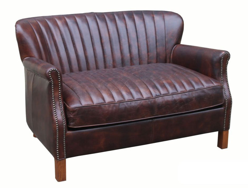Cheshunt Distressed Vintage Leather 2 Seater Settee Sofa
