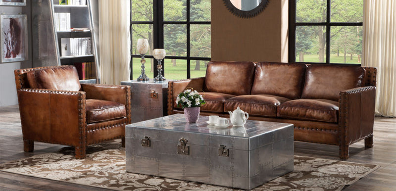 Portofino Luxury Vintage Distressed Leather Sofa Suite