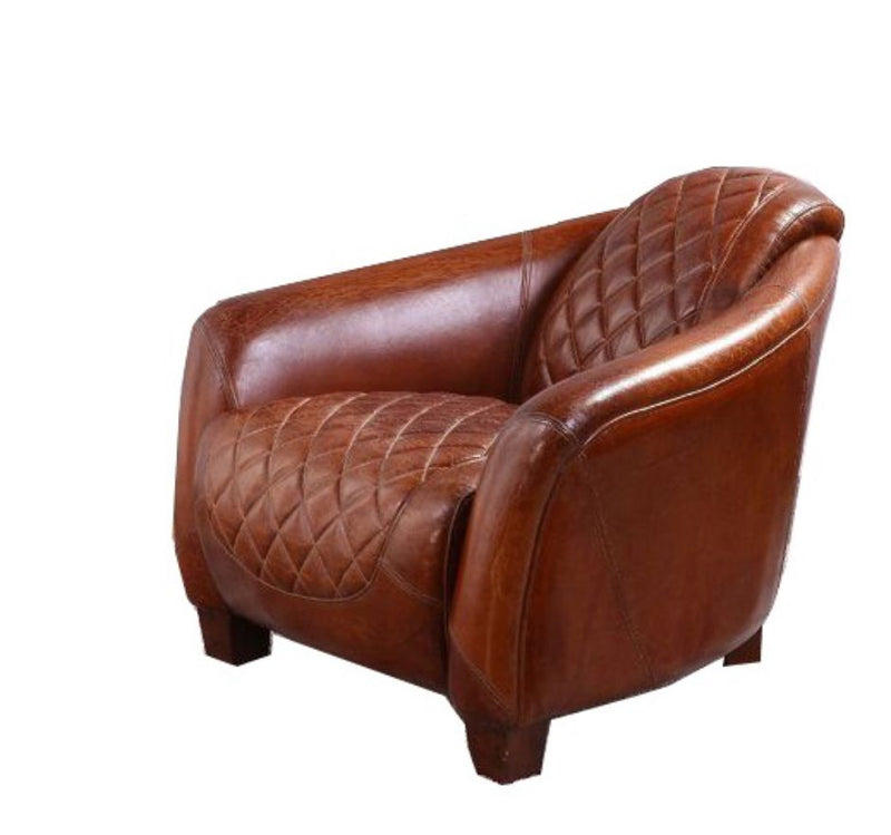 Quilted Vintage Distressed Leather Tub Chair
