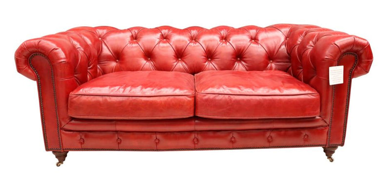 Barnet Red Leather Vintage Chesterfield Sofa 2 Seater