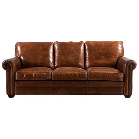 Arden Vintage Retro Distressed Leather 3 Seater Sofa Settee