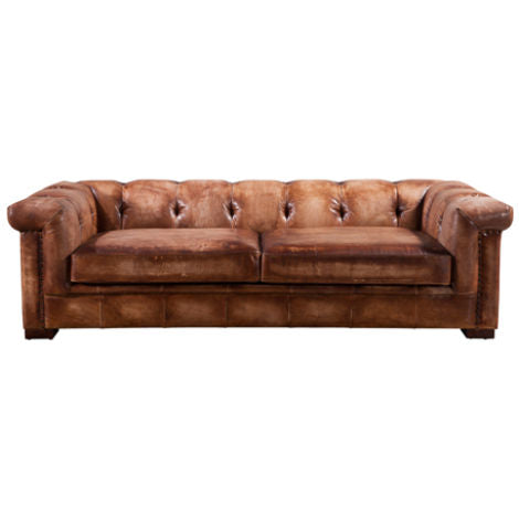 Adler Chesterfield Vintage Retro Distressed Leather 2 Seater Settee Sofa