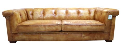 Collington Chesterfield Vintage Retro Wash Tan Leather Settee Sofa