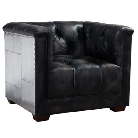 Spitfire Chesterfield Vintage Distressed Leather Aluminium Armchair