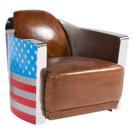 Stars And Stripes Aviator Retro Distressed Leather Armchair