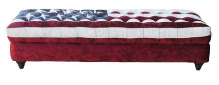 Ariel Stars And Stripes Chesterfield Ottoman Footstool