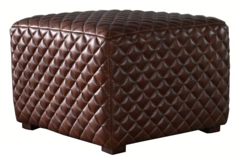 Ashton Stiched Vintage Distressed Leather Footstool Pouffe