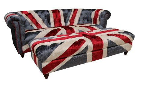 Ashton Union Jack Chesterfield 3 Seater Sofa With Matching Ottoman Footstool In Plush Velvet
