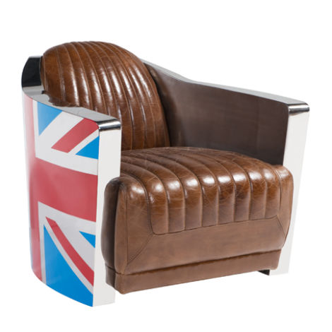 Union Jack Aviator Retro Distressed Leather Tub Chair | Armchair