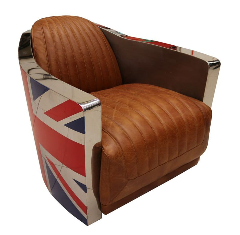 Union Jack Aviator Retro Distressed Leather Armchair