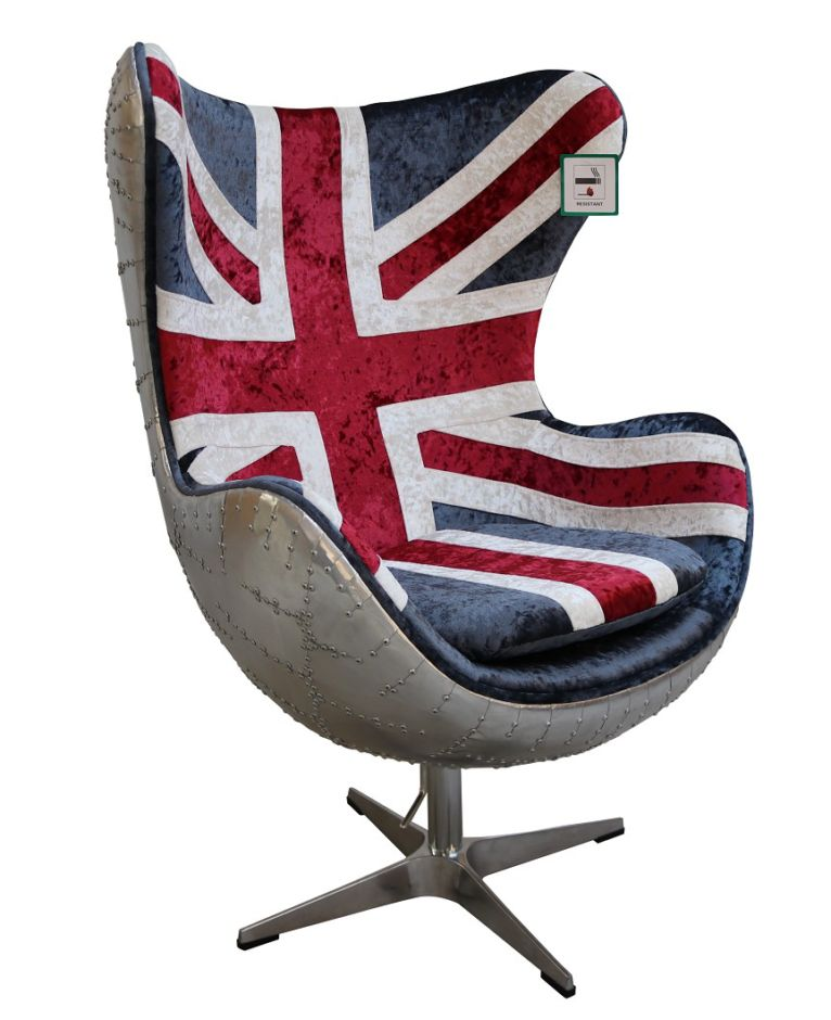 Aviator Union Jack Retro Swivel Egg Chair
